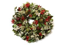 "20"" Herb Wreath on OneKingsLane.com Enticing, natural colors, from verdant green to crimson red enhance the delicate beauty of this pretty wreath.  From The Garden specializes in beautiful, modern designs of dried and preserved floral wreaths and arrangements.  Keep indoors out of direct sunlight and heating elements.  Made of: salal, sage, avena, chili peppers, oregano, ammobium, kiln dried artichokes, kiln dried pomegranates."