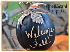 This easy  fall craft doubles as a decoration and  message board. Simply take a pumpkin + chalkboard paint and go to town!