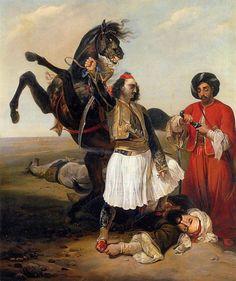 Emile-Jean-Horace Vernet: Le Glaour, Conquerer of d'Hassan Painted Horses, Greek Paintings, Amazing Paintings, Oil Paintings, Jean Leon, Arabian Art, Call Art, Horse Drawings, Historical Art