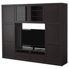 BESTÅ TV storage combination/glass doors - black-brown - IKEA.....  I OWN:  One tall door (white), one black/glass door, & drawer fronts (don't know color)