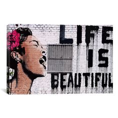 Banksy 'Life Is Beautiful' Canvas Print Wall Art | Overstock.com Shopping - The Best Deals on Canvas