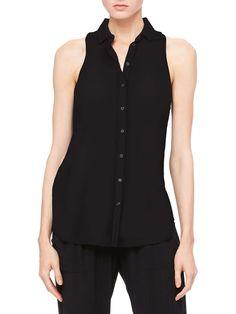 Oversized Sleeveless Button-Up