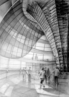 Architect Norman Foster, Reichstag, Berlin, drawing by Klara Ostaniewicz