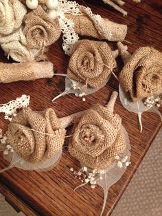 Rustic burlap wedding button holes