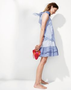 Crew women's tie-neck top in striped silk, cocktail stripe ruffle skirt and Figue® pom-pom mules. Blue Fashion, Fashion 2017, Fashion Outfits, Preppy Fashion, Preppy Look, Preppy Style, My Style, Spring Summer Fashion, Editorial Fashion