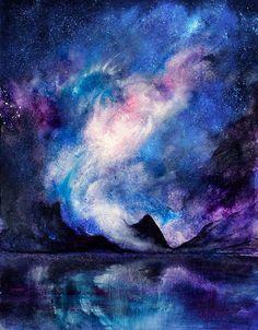 Night in Iceland by Alina---S on DeviantArt Night Illustration, Deep Space, Red Lipsticks, Iceland, Sick, Northern Lights, Digital Art, Deviantart, Mountains