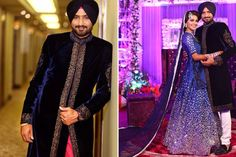 A midnight blue velvet sherwani with a gold embroidered border for groom Harbhajan Singh. Photo Courtesy- Israni Photography #WeddingSutra #groom #indiangrooms #wedding #indianwedding #Indian #sherwani #blue #velvet #gold