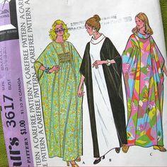 1970s Misses Batwing CAFTAN Pattern McCalls 3617 Princess Seams Womens Vintage Sewing Pattern Size Small UNCUT 1973