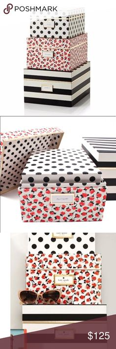 NWT! RARE Kate Spade Nesting Boxes - complete set New with tags in original plastic. Only opened to inspect quality and take pics. Flawless condition. Absolutely stunning and hard to find. Would be the perfect addition to any fashionistas Home office! 💕  See last photo for measurements! kate spade Other