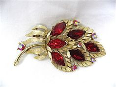 Vintage Red Crystal Lisner Brooch by DelicateCreations on Etsy, $24.00