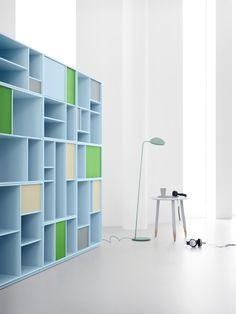 Library in light blue. #montana #furniture #danish #design #furniture #storage #interior #inspiration #interior #indretning #inredning #einrichtung #library #home