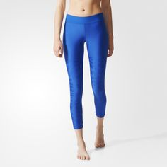 The adidas by Stella McCartney Studio Zebra Tights come in shiny jacquard that transitions from a solid upper into a zebra texture on the legs. Made in moisture-wicking fabric that keeps you dry on the dance floor. Love the blue and the subtle detailed print