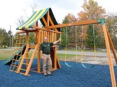 Our Dreamscape wooden swing set features a large clubhouse with a tent top canopy, strong cedar components that utilize engineered thru-bolt construction, plastisol-covered chains that increase safety, and much more. With plenty of activities to keep the kids busy, this is the perfect wooden playset for any family. Check out our quick video to learn more about this terrific swing set.