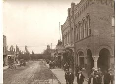 This classic wide angle photo of the intersection of Main and Center streets in downtown Pocatello was taken in 1904. Note the unpaved street. Center runs to the left and right. Main street, then called Cleveland Avenue, goes straight ahead.