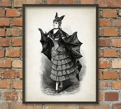 Woman in a bat costume - Weird - Whimsical - Strange - Giclee Art Print