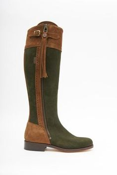 Picture of Spanish Riding Boots suede: Camel & Green (leather sole)