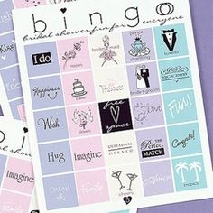 Bridal Shower Bingo... could make one for a baby shower as well.