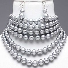 Chunky Platinum Pearl Choker Collar Elegant Costume Jewelry Necklace Earrings