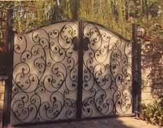 Scrolled Wrought Iron Driveway Gate With Write Perforated