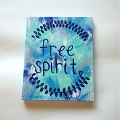 Free spirit bohemian acrylic canvas painting for fashionable girls room, dorm room, or home decor