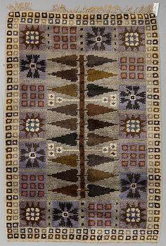 Matta, rya, ca 188 x 129 cm. Rya Rug, Kilim Rugs, Latch Hook Rugs, Interior Rugs, Tapestry Design, Cool Rugs, Diy Canvas, Rug Hooking, Carpet Runner