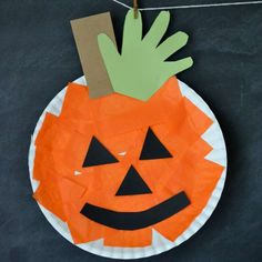 Paper Plate Pumpkin from Glued to My Crafts