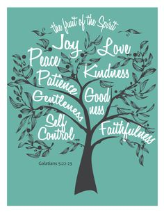 Fruit of the Spirit Digital DIY wall art graphics of Galatians 5:22 scripture quote for home decoration. $10.00, via Etsy.