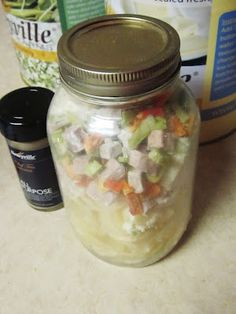 52 meals stored in glass jars that will keep 5 to 7 years