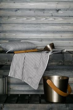 Nice colour scheme—grey with natural wood! Sauna with great bucket and spoon. Portable Steam Sauna, Scandinavian Cabin, Sauna Accessories, Spa Furniture, Outdoor Sauna, Sauna Design, Finnish Sauna, Infrared Sauna, Nordic Interior
