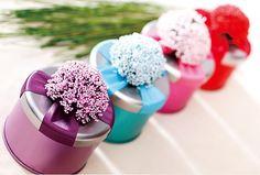 50 pcs Lavender Wedding Favors Box Tin Box Baby by StickerClub