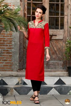 Red simple casual wear printed cotton  kurtis 06