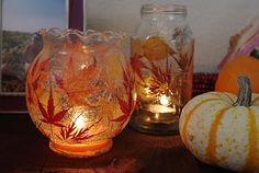 mod podge on glass : Fall Leaf Lanterns