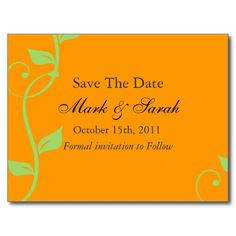 Simple Scrolling Vine Pumpkin SaveThe Date Post Card