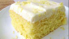 Homemade Lemon Sheet Cake with Cream Cheese Frosting Lemon Sheet Cake Recipe, Lemon Bundt Cake, Sheet Cake Recipes, Easy Buttercream Frosting, Lemon Cheesecake Bars, Cake Writing, Lemon Sugar Cookies, Lemon Dessert Recipes, Light Desserts