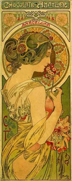 1899.  Chocolate Amatller, Barcelona.  Illustration by Alphonse Mucha.