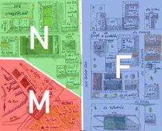 El vocabulario de la ciudad en alemán, por zonas