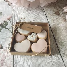 Little box of love personalised wedding favours heart cookies