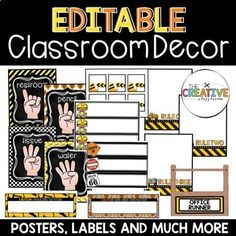 Unique classroom themes create a welcoming learning environment for all your students and parents. Your classroom can be clean, neat and matching on every single wall and shelf. Take your classroom and turn it into a construction learning zone where your student's minds are always under kidstruction!