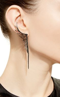 Black Rhodium Ear Cuff With Matching Single Stud by CristinaOrtiz for Preorder…