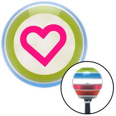 Pink Fat Outlined Heart Stripe Shift Knob with M16 x 15 Insert - Give your interior the ultimate look. American Shifter's Elite(TM) series shift knobs are made from the highest quality components resulting in a superior feel on every shift. Each shift knob is designed and customized in the USA by skilled shift knob artisans who have a trained eye on every detail. American Shifters shift knobs offers an exclusive aluminum threaded insert designed to be screwed onto your shift arm. You should…