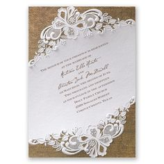 Burlap and Lace Wedding Invitation by David's Bridal