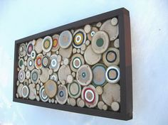 Rustic Wood Slice Sculpture  13x24  by RusticModernDesigns on Etsy, $156.00 Perfect for over our fireplace!