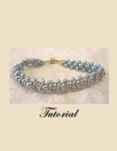 PDF for Aqua Pearl Delight Right Angle Weave beadwoven bracelet beading pattern tutorial - beadweaving beaded seed bead jewelry