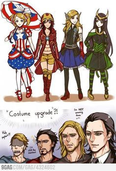 Avengers costume upgrade - Genderbend.. LOVE the guys' reactions