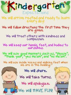 Kinder Expectations - would be great to reword these and give to parents at parent / child day ... really help parents understand what we expect the children to be doing