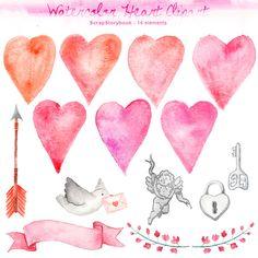 Watercolor Heart Clipart  digital printable by Scrapstorybook