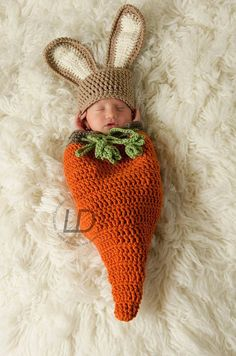 Newborn Bunny Rabbit Hat Carrot Swaddle Snuggle Sack Cocoon Easter Prop