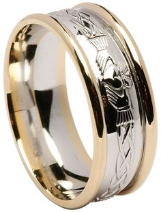 Claddagh Celtic Wedding Ring with Rims