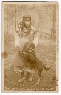 Real Photo RPPC Postcard Penobscot Indian with her Dog, Old Town, Maine