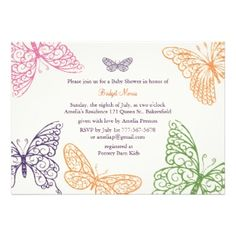 baby shower butterfly theme | Tummy Flutters Baby Shower Invite ivory